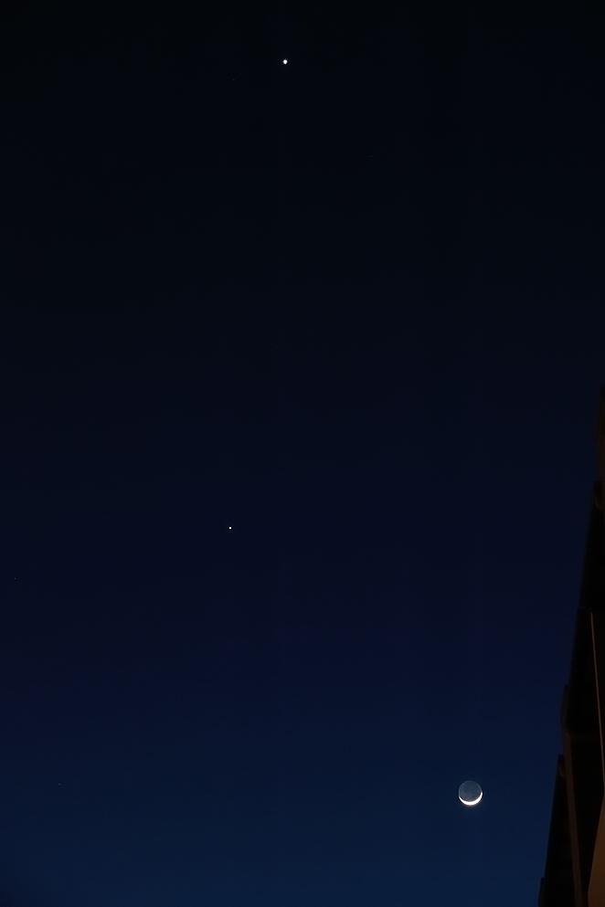 上から金星、木星、月