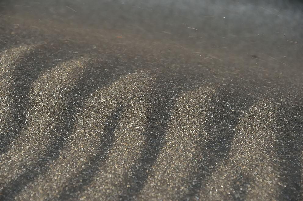 砂浜に出来た風紋と風で飛ばされる砂粒