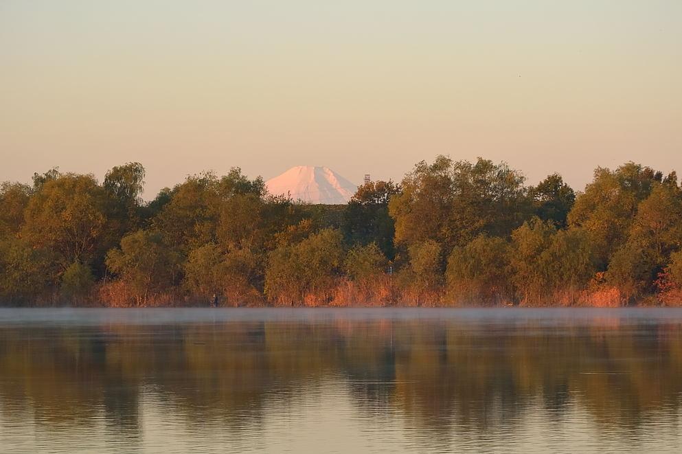 湖岸の紅葉