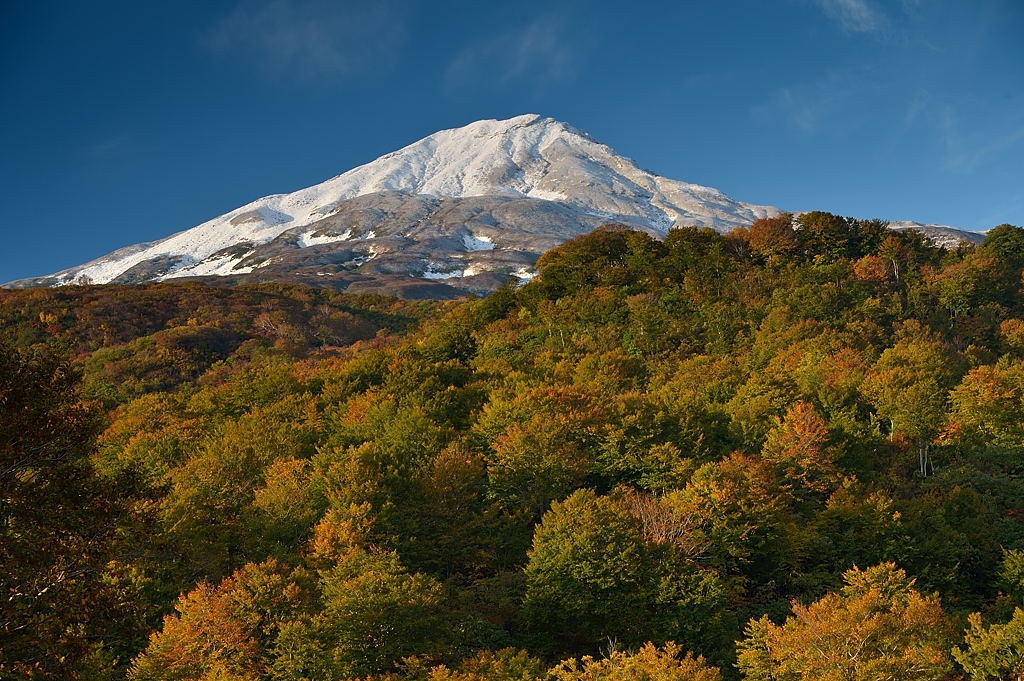 黄葉と冠雪の鳥海山